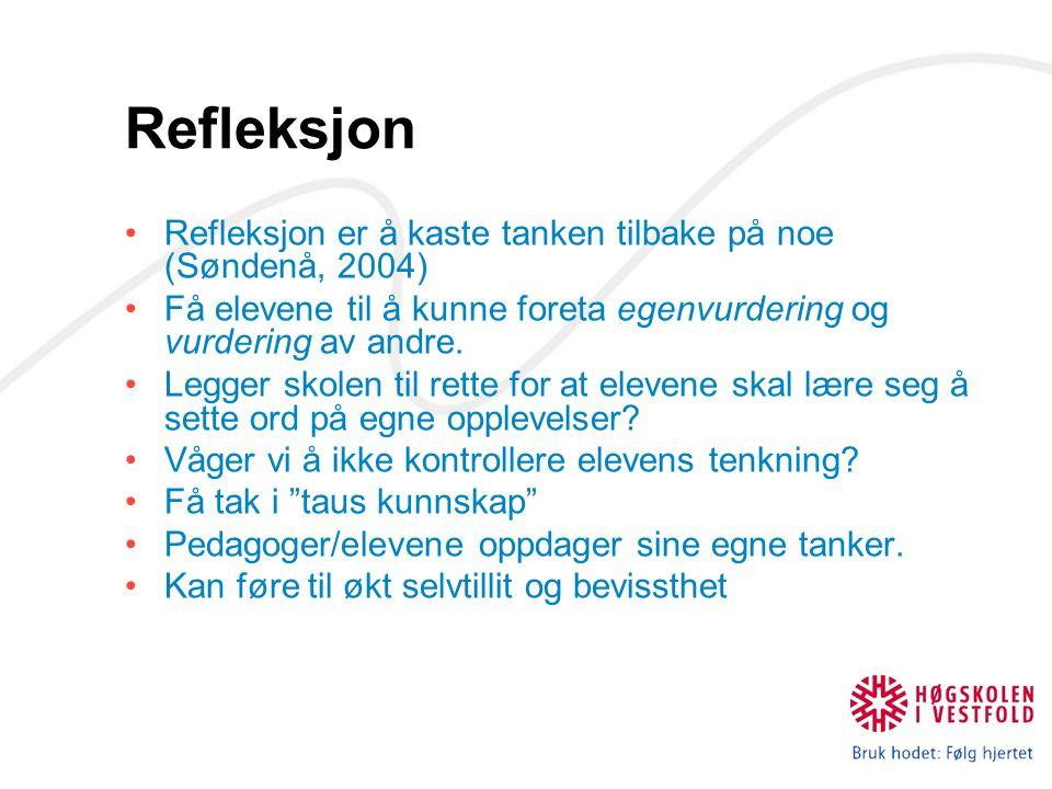 Refleksjon Refleksjon er å kaste tanken tilbake på noe (Søndenå, 2004) Få elevene til å kunne foreta egenvurdering og vurdering av andre. Legger skole