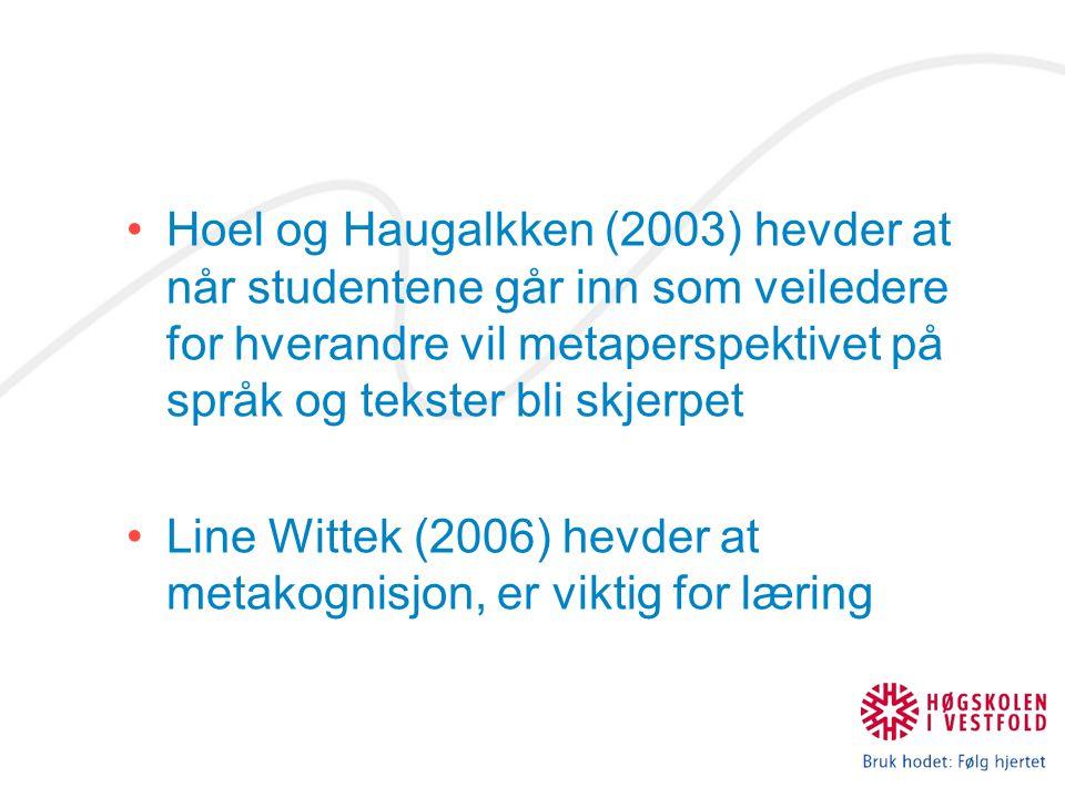 Hoel og Haugalkken (2003) hevder at når studentene går inn som veiledere for hverandre vil metaperspektivet på språk og tekster bli skjerpet Line Witt