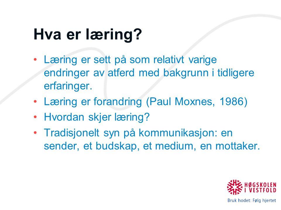 Hva er læring? Læring er sett på som relativt varige endringer av atferd med bakgrunn i tidligere erfaringer. Læring er forandring (Paul Moxnes, 1986)