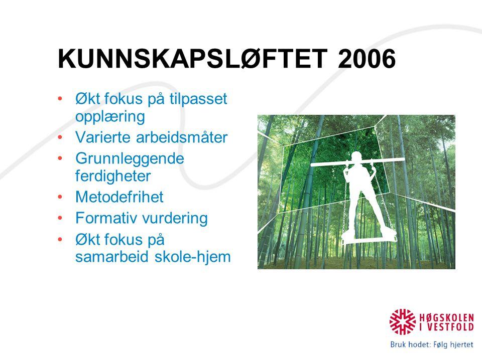 KUNNSKAPSLØFTET 2006 Økt fokus på tilpasset opplæring Varierte arbeidsmåter Grunnleggende ferdigheter Metodefrihet Formativ vurdering Økt fokus på sam