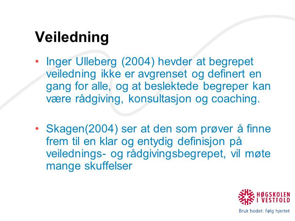 Veiledning Inger Ulleberg (2004) hevder at begrepet veiledning ikke er avgrenset og definert en gang for alle, og at beslektede begreper kan være rådg