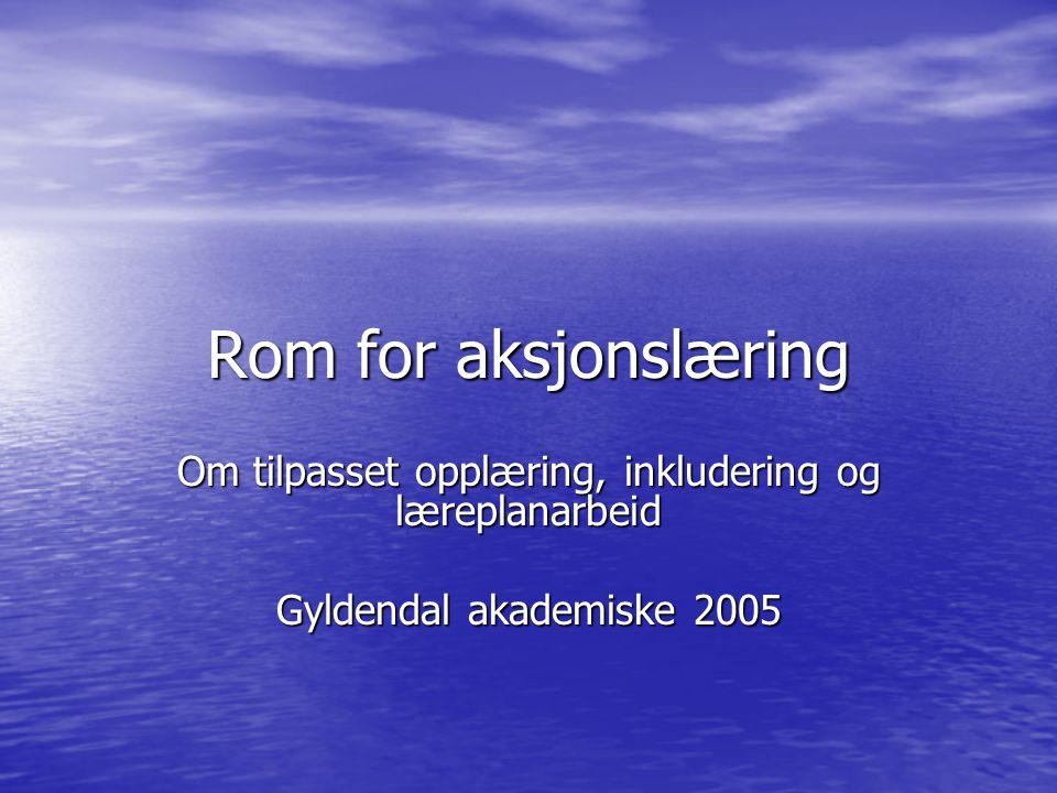 Rom for aksjonslæring Om tilpasset opplæring, inkludering og læreplanarbeid Gyldendal akademiske 2005