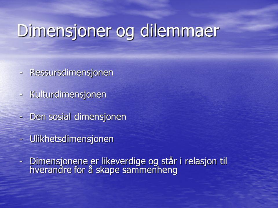 Dimensjoner og dilemmaer -Ressursdimensjonen -Kulturdimensjonen -Den sosial dimensjonen -Ulikhetsdimensjonen -Dimensjonene er likeverdige og står i re