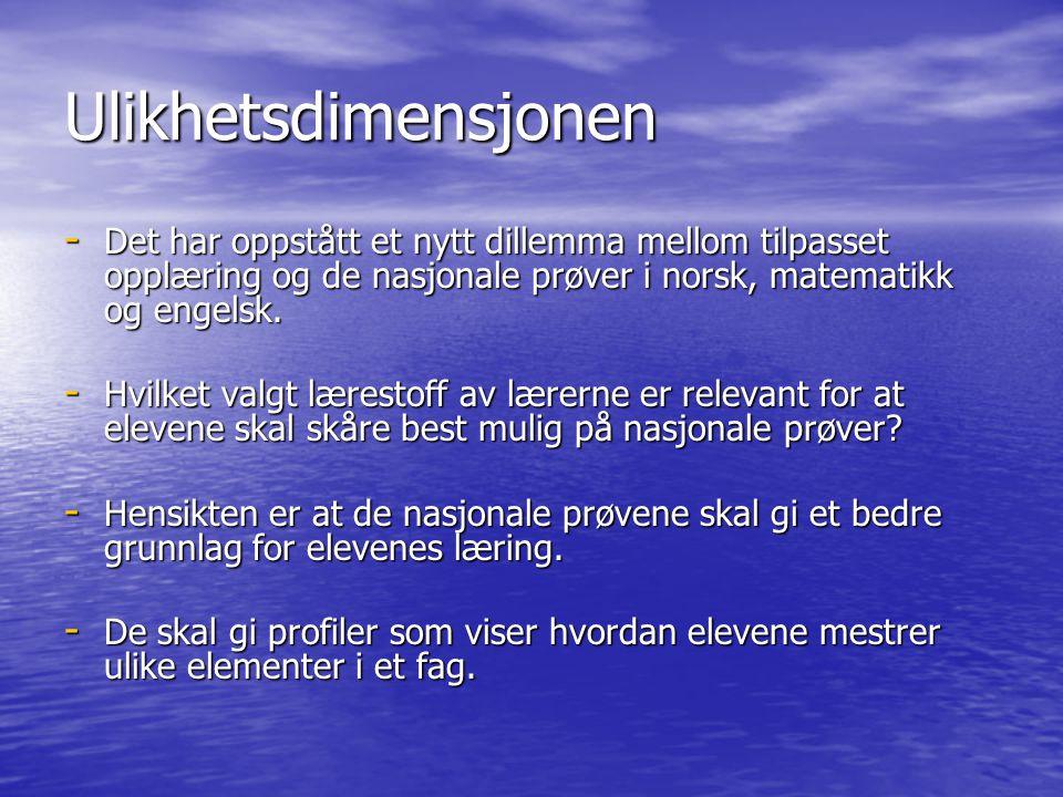 Ulikhetsdimensjonen - Det har oppstått et nytt dillemma mellom tilpasset opplæring og de nasjonale prøver i norsk, matematikk og engelsk. - Hvilket va