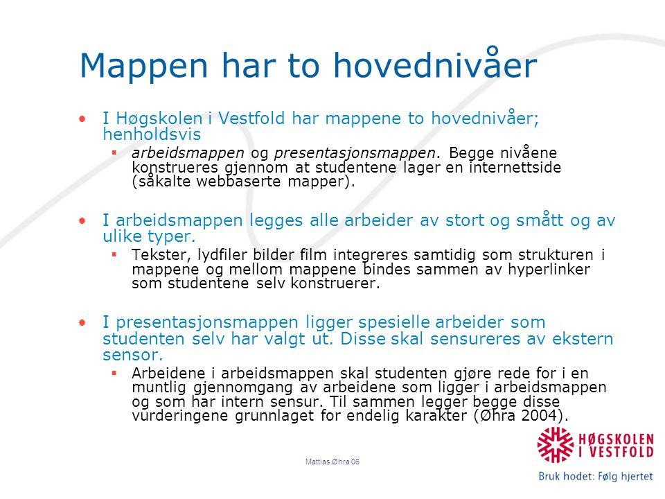 Mattias Øhra 06 Mappen har to hovednivåer I Høgskolen i Vestfold har mappene to hovednivåer; henholdsvis  arbeidsmappen og presentasjonsmappen.