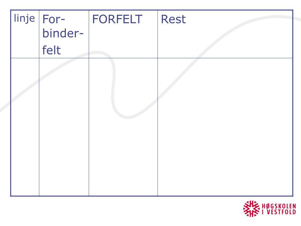 linje For- binder- felt FORFELTRest