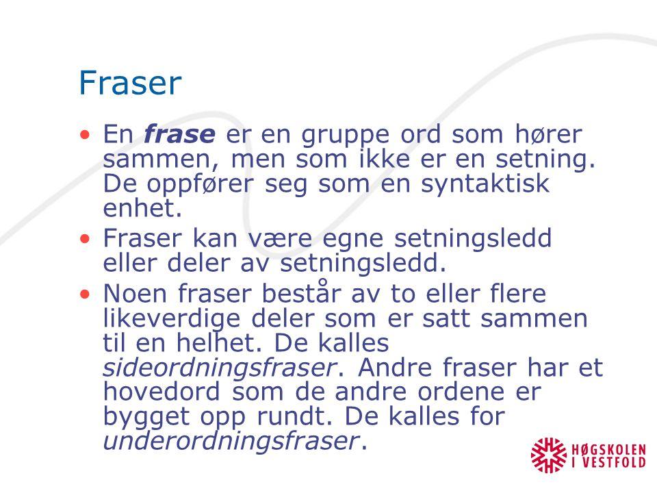 Fraser En frase er en gruppe ord som hører sammen, men som ikke er en setning. De oppfører seg som en syntaktisk enhet. Fraser kan være egne setningsl