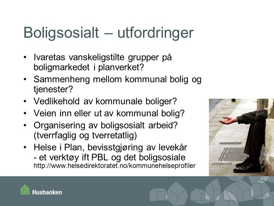 Boligsosialt – utfordringer Ivaretas vanskeligstilte grupper på boligmarkedet i planverket.