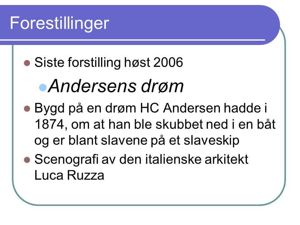 Forestillinger Siste forstilling høst 2006 Andersens drøm Bygd på en drøm HC Andersen hadde i 1874, om at han ble skubbet ned i en båt og er blant sla