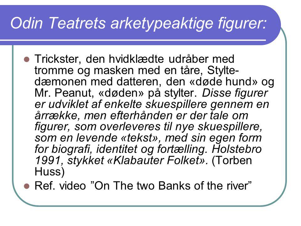 Odin Teatrets arketypeaktige figurer: Trickster, den hvidklædte udråber med tromme og masken med en tåre, Stylte- dæmonen med datteren, den «døde hund