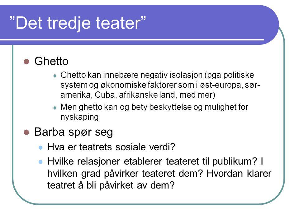 Det tredje teater forts Definisjon i Artikkel: Teaterkultur i Spillerom nr2, 1982:s28: De gruppene jeg kaller Det tredje teater har ikke en felles linje ller særlige tendenser.