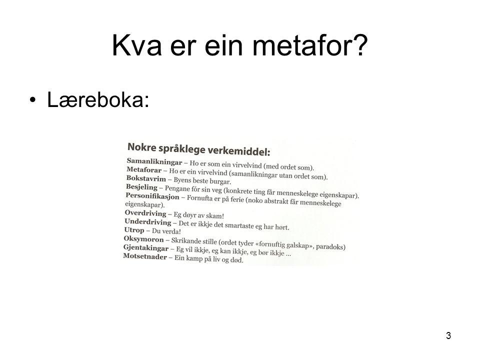 3 Kva er ein metafor Læreboka: