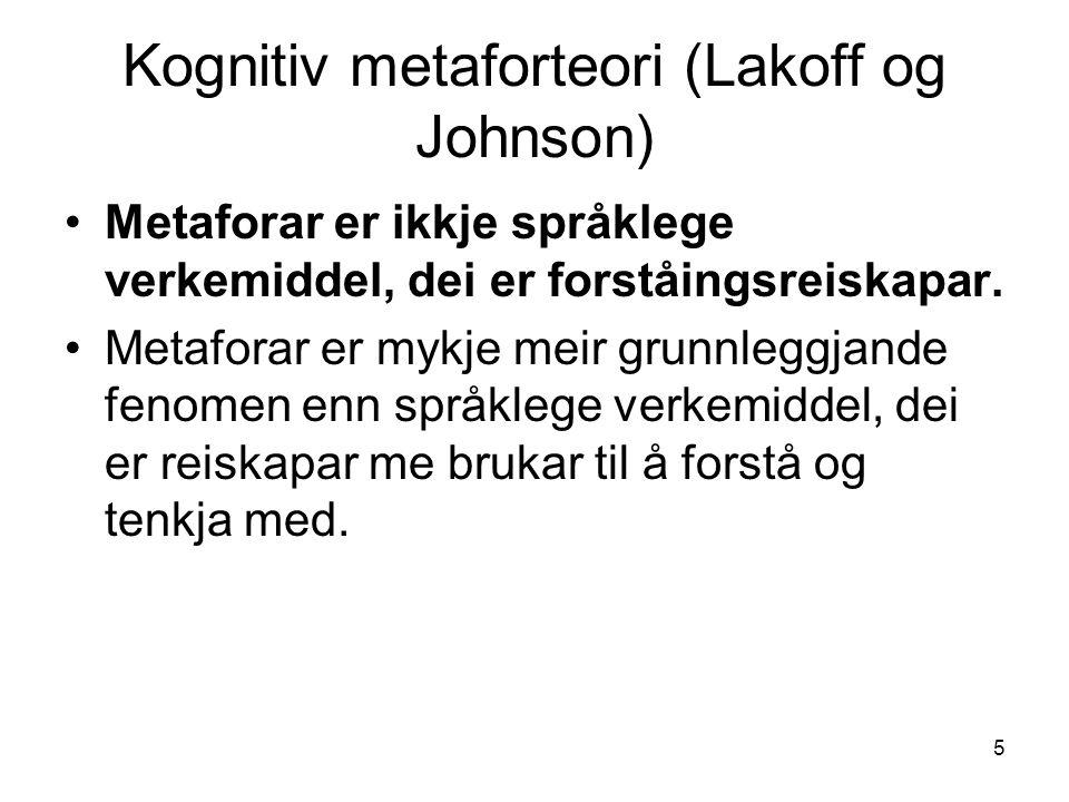 5 Kognitiv metaforteori (Lakoff og Johnson) Metaforar er ikkje språklege verkemiddel, dei er forståingsreiskapar.