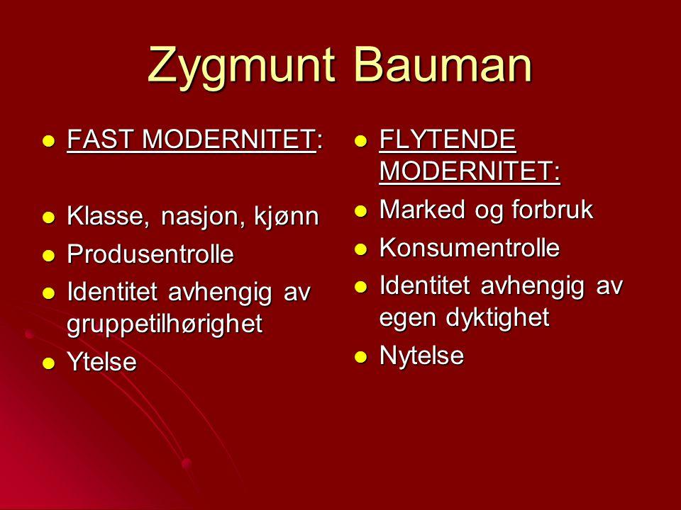 Zygmunt Bauman FAST MODERNITET: FAST MODERNITET: Klasse, nasjon, kjønn Klasse, nasjon, kjønn Produsentrolle Produsentrolle Identitet avhengig av grupp