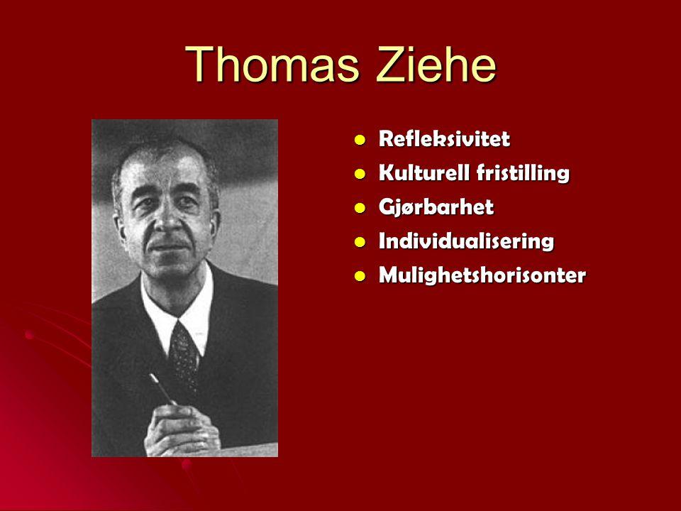 Thomas Ziehe Refleksivitet Refleksivitet Kulturell fristilling Kulturell fristilling Gjørbarhet Gjørbarhet Individualisering Individualisering Mulighe