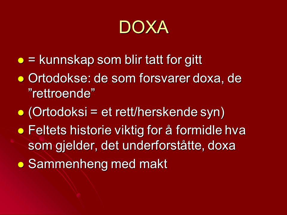 "DOXA = kunnskap som blir tatt for gitt = kunnskap som blir tatt for gitt Ortodokse: de som forsvarer doxa, de ""rettroende"" Ortodokse: de som forsvarer"
