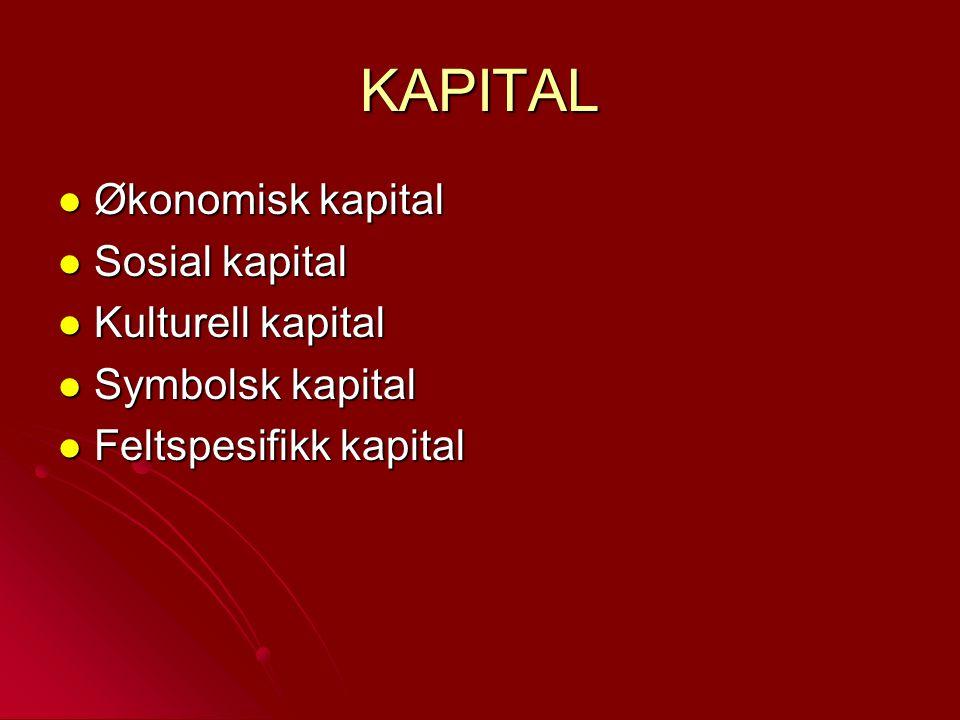 KAPITAL Økonomisk kapital Økonomisk kapital Sosial kapital Sosial kapital Kulturell kapital Kulturell kapital Symbolsk kapital Symbolsk kapital Feltsp