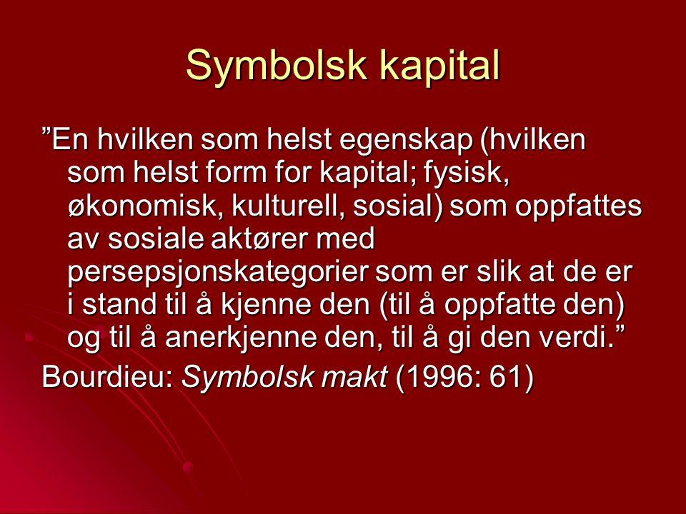 """Symbolsk kapital """"En hvilken som helst egenskap (hvilken som helst form for kapital; fysisk, økonomisk, kulturell, sosial) som oppfattes av sosiale ak"""