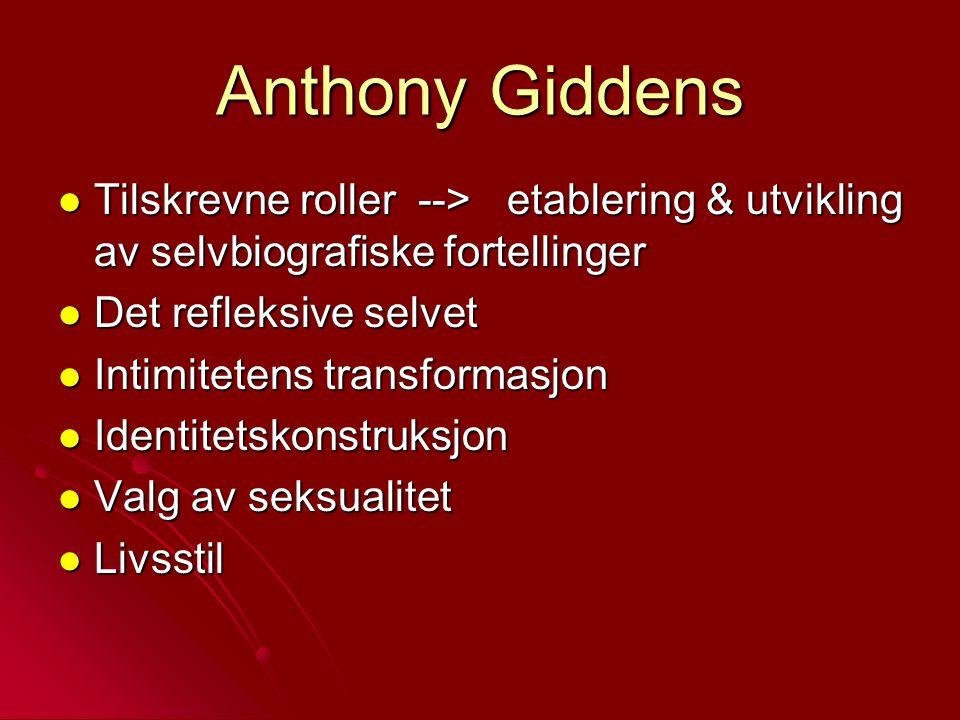 Anthony Giddens Tilskrevne roller --> etablering & utvikling av selvbiografiske fortellinger Tilskrevne roller --> etablering & utvikling av selvbiogr