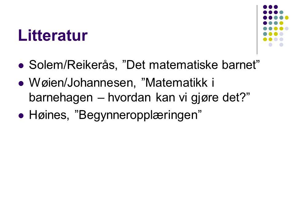 """Litteratur Solem/Reikerås, """"Det matematiske barnet"""" Wøien/Johannesen, """"Matematikk i barnehagen – hvordan kan vi gjøre det?"""" Høines, """"Begynneropplæring"""