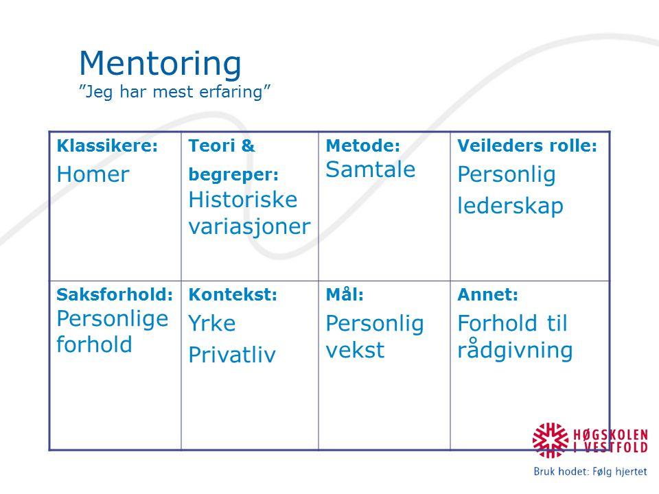 """Mentoring """"Jeg har mest erfaring"""" Klassikere: Homer Teori & begreper: Historiske variasjoner Metode: Samtale Veileders rolle: Personlig lederskap Saks"""