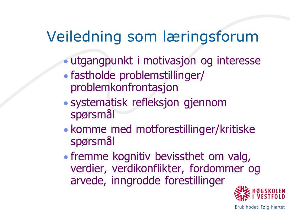 Veiledning som læringsforum  utgangpunkt i motivasjon og interesse  fastholde problemstillinger/ problemkonfrontasjon  systematisk refleksjon gjenn