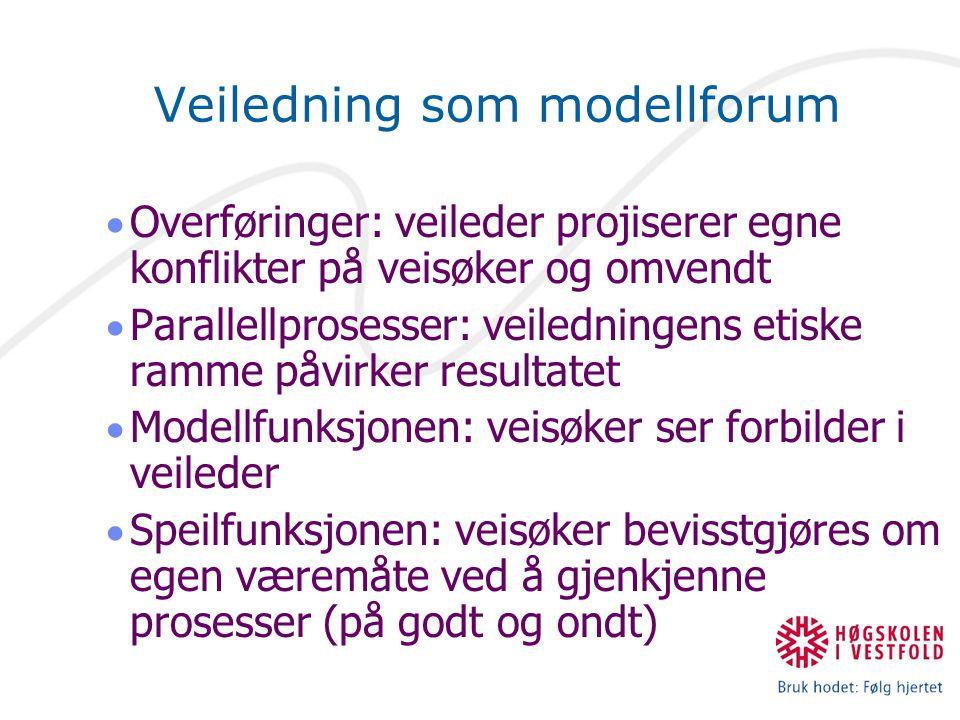 Veiledning som modellforum  Overføringer: veileder projiserer egne konflikter på veisøker og omvendt  Parallellprosesser: veiledningens etiske ramme