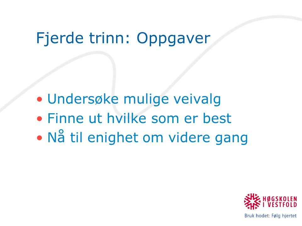 Fjerde trinn: Oppgaver Undersøke mulige veivalg Finne ut hvilke som er best Nå til enighet om videre gang