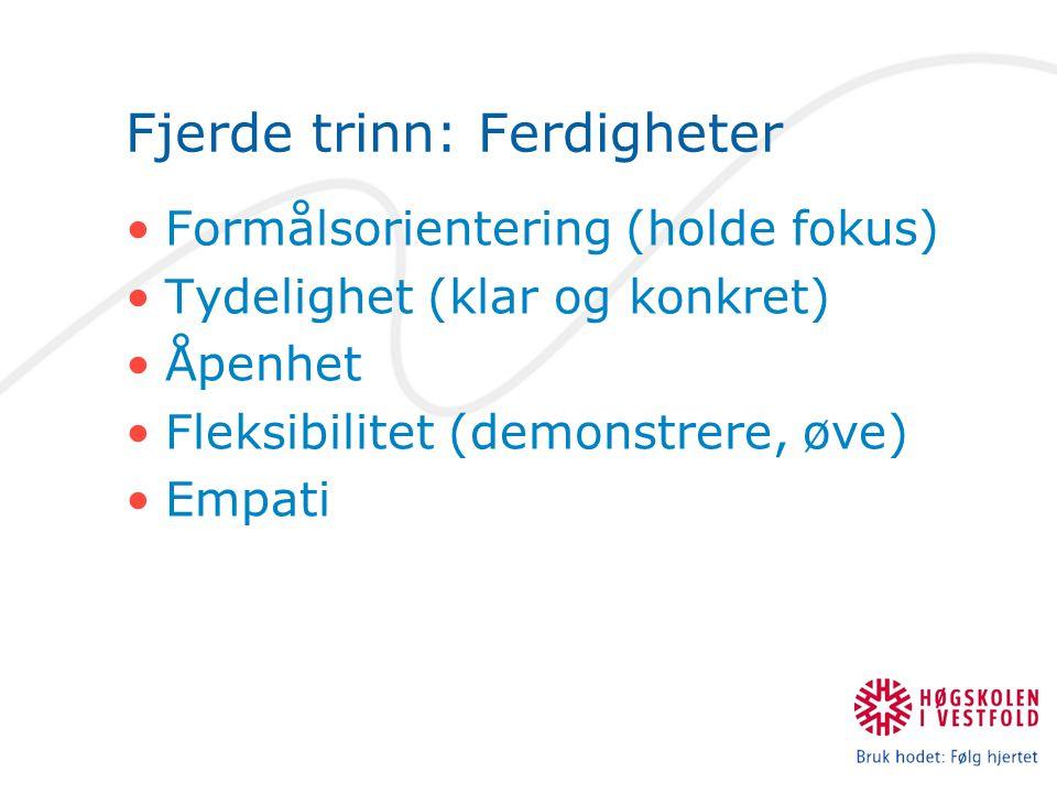 Fjerde trinn: Ferdigheter Formålsorientering (holde fokus) Tydelighet (klar og konkret) Åpenhet Fleksibilitet (demonstrere, øve) Empati