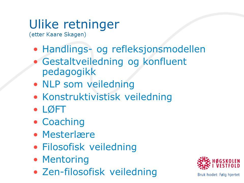 Ulike retninger (etter Kaare Skagen) Handlings- og refleksjonsmodellen Gestaltveiledning og konfluent pedagogikk NLP som veiledning Konstruktivistisk