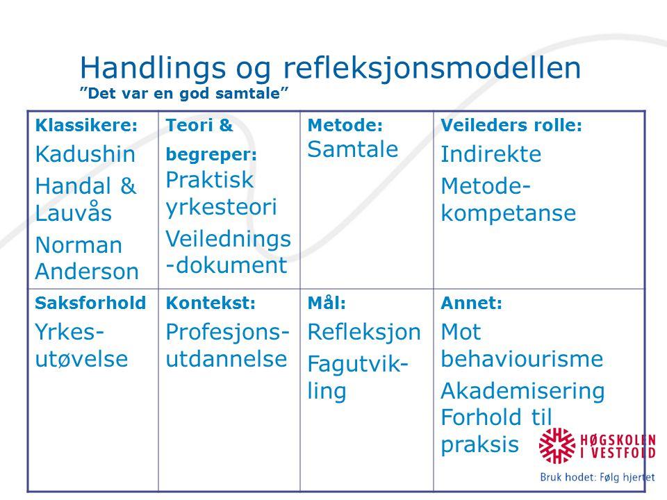 """Handlings og refleksjonsmodellen """"Det var en god samtale"""" Klassikere: Kadushin Handal & Lauvås Norman Anderson Teori & begreper: Praktisk yrkesteori V"""