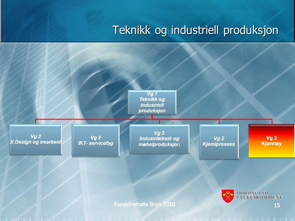 Teknikk og industriell produksjon Vg 1 Teknikk og industriell produksjon Vg 2 X Design og trearbeid Vg 2 IKT- servicefag Vg 2 Industritekstil og møbel