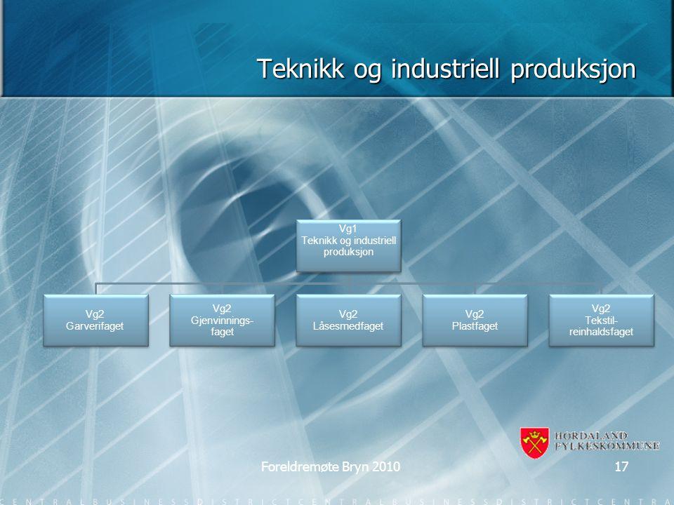 Teknikk og industriell produksjon Vg1 Teknikk og industriell produksjon Vg2 Garverifaget Vg2 Gjenvinnings- faget Vg2 Låsesmedfaget Vg2 Plastfaget Vg2