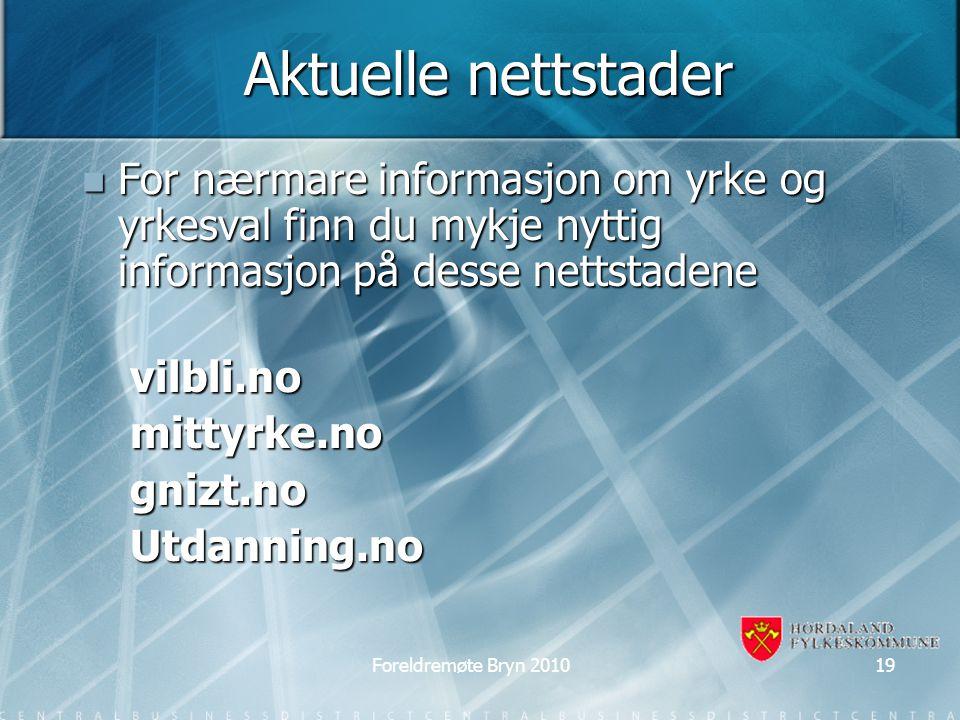 Aktuelle nettstader For nærmare informasjon om yrke og yrkesval finn du mykje nyttig informasjon på desse nettstadene For nærmare informasjon om yrke