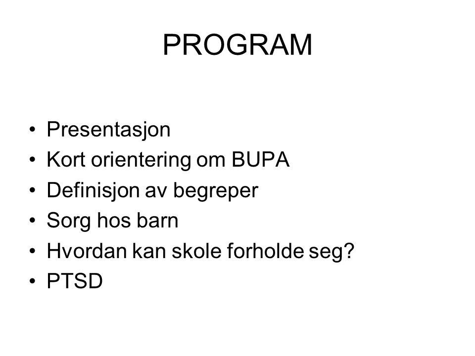 PROGRAM Presentasjon Kort orientering om BUPA Definisjon av begreper Sorg hos barn Hvordan kan skole forholde seg.