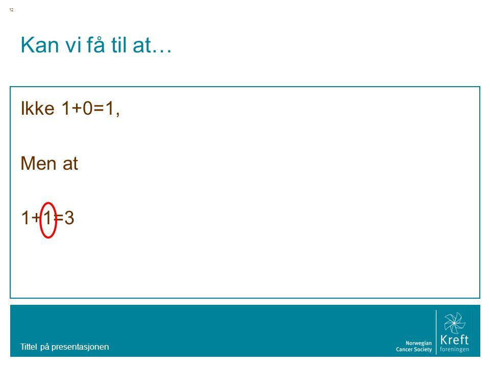 12 Kan vi få til at… Ikke 1+0=1, Men at 1+1=3 Tittel på presentasjonen