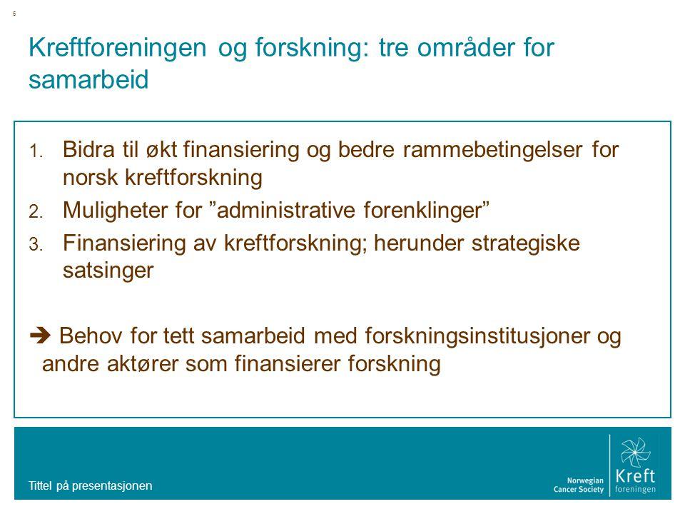 6 Kreftforeningen og forskning: tre områder for samarbeid 1. Bidra til økt finansiering og bedre rammebetingelser for norsk kreftforskning 2. Mulighet