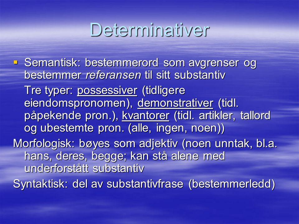 Determinativer  Semantisk: bestemmerord som avgrenser og bestemmer referansen til sitt substantiv Tre typer: possessiver (tidligere eiendomspronomen)
