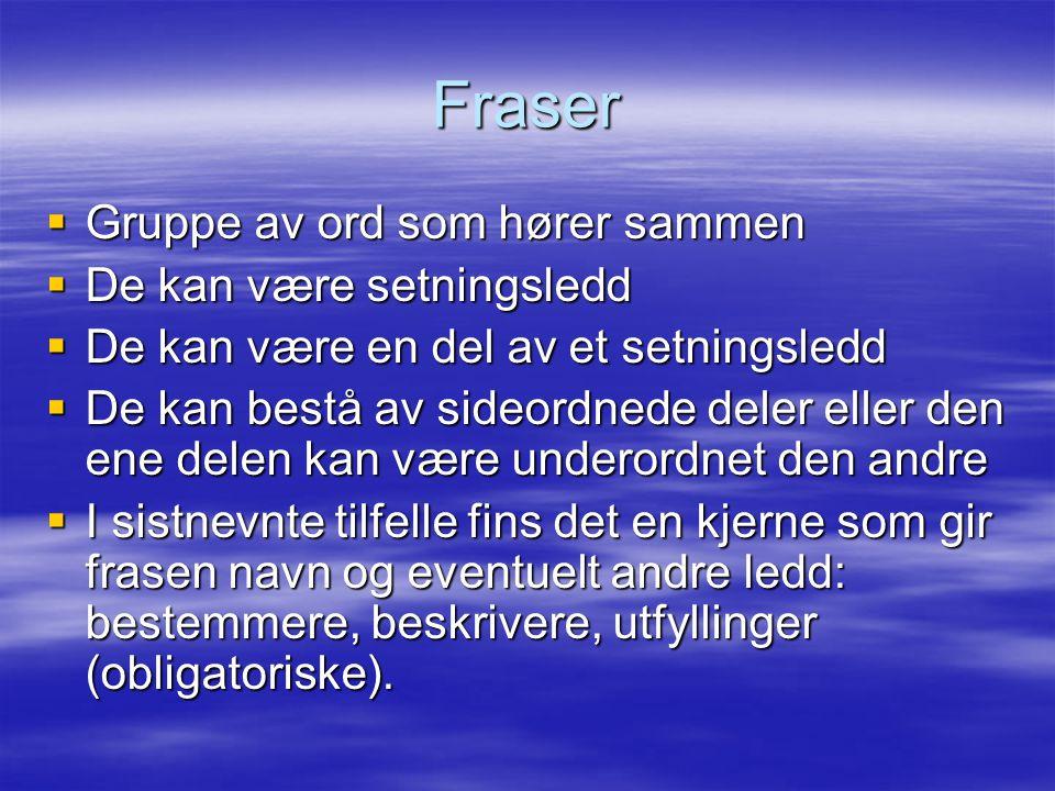 Fraser  Gruppe av ord som hører sammen  De kan være setningsledd  De kan være en del av et setningsledd  De kan bestå av sideordnede deler eller d