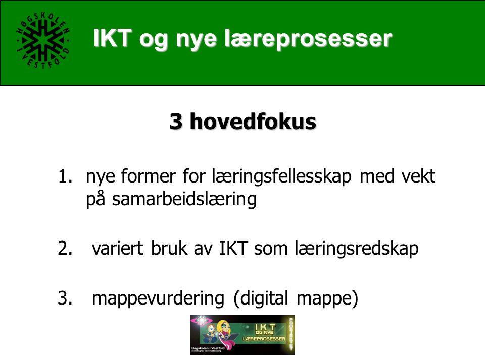 IKT og nye læreprosesser 3 hovedfokus 1.nye former for læringsfellesskap med vekt på samarbeidslæring 2.