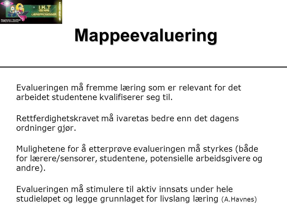 Mappeevaluering Evalueringen må fremme læring som er relevant for det arbeidet studentene kvalifiserer seg til.