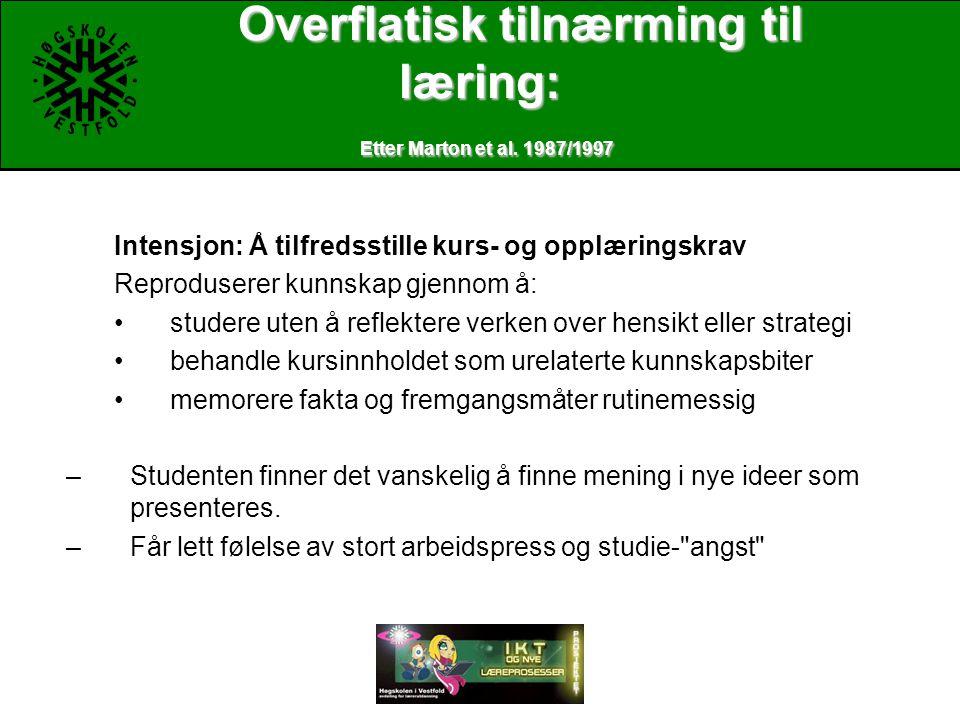 Overflatisk tilnærming til læring: Etter Marton et al.