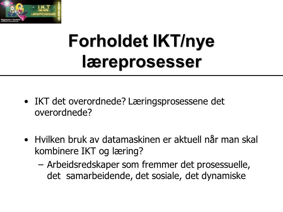 Forholdet IKT/nye læreprosesser IKT det overordnede.
