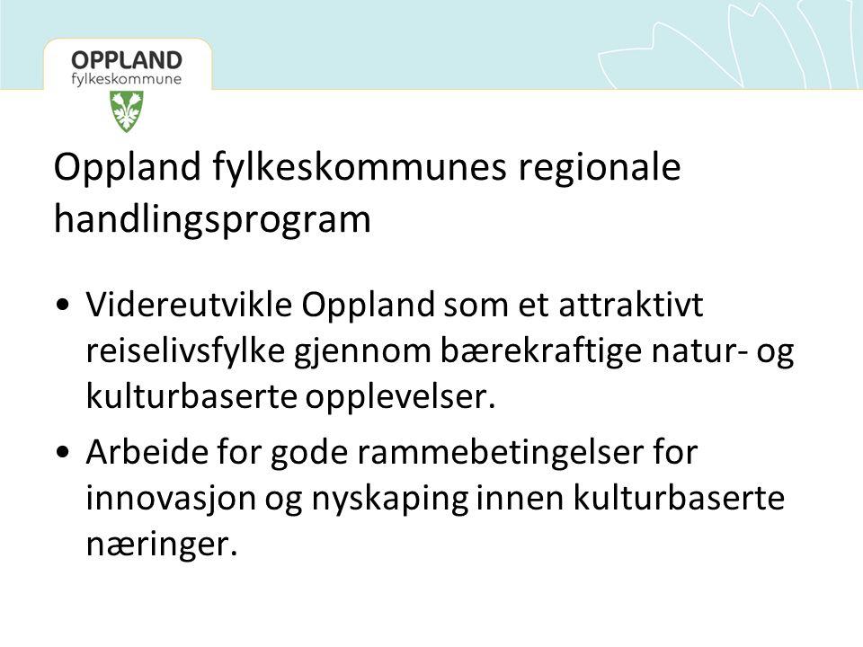 Oppland fylkeskommunes regionale handlingsprogram Videreutvikle Oppland som et attraktivt reiselivsfylke gjennom bærekraftige natur- og kulturbaserte opplevelser.