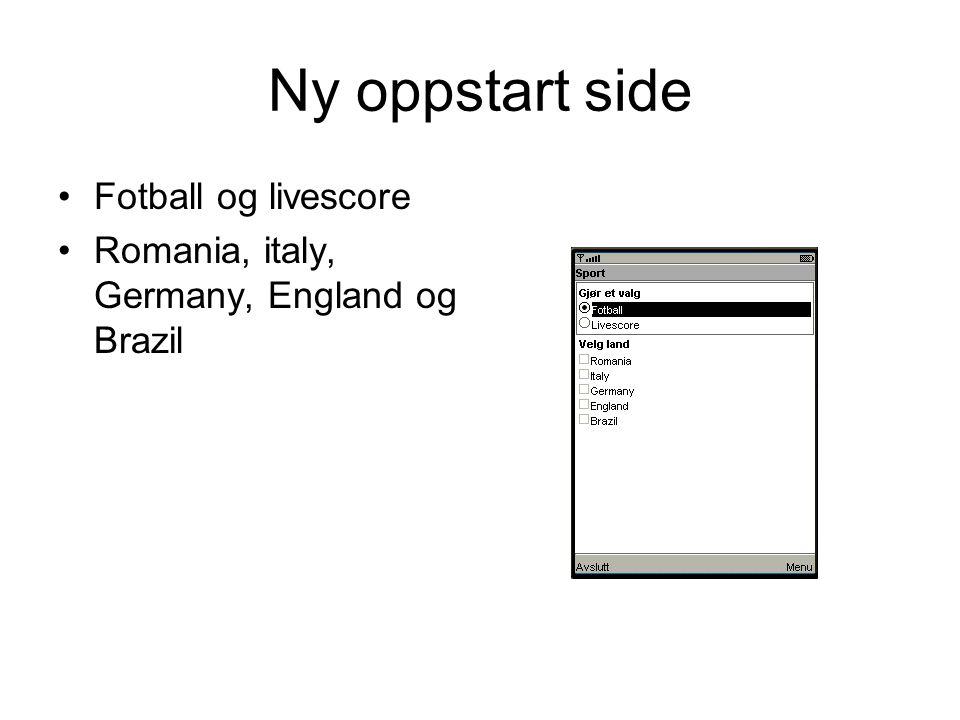 Ny oppstart side Fotball og livescore Romania, italy, Germany, England og Brazil