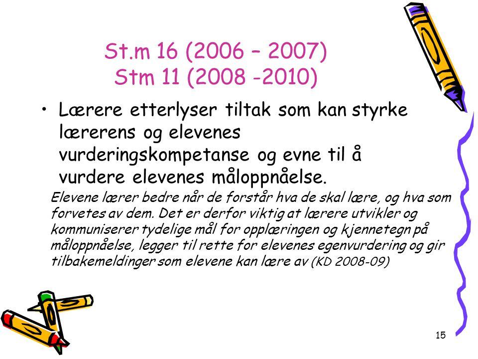 15 St.m 16 (2006 – 2007) Stm 11 (2008 -2010) Lærere etterlyser tiltak som kan styrke lærerens og elevenes vurderingskompetanse og evne til å vurdere elevenes måloppnåelse.