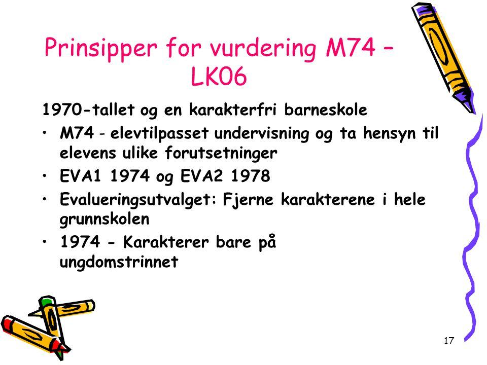 17 Prinsipper for vurdering M74 – LK06 1970-tallet og en karakterfri barneskole M74 - elevtilpasset undervisning og ta hensyn til elevens ulike foruts