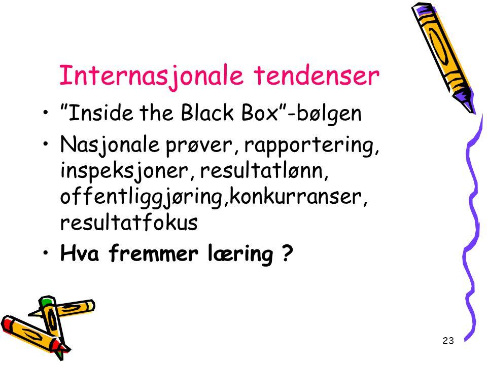 23 Internasjonale tendenser Inside the Black Box -bølgen Nasjonale prøver, rapportering, inspeksjoner, resultatlønn, offentliggjøring,konkurranser, resultatfokus Hva fremmer læring ?