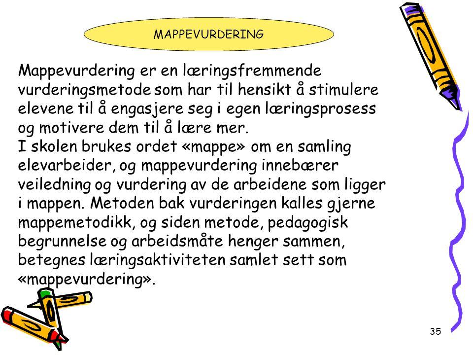 35 Mappevurdering er en læringsfremmende vurderingsmetode som har til hensikt å stimulere elevene til å engasjere seg i egen læringsprosess og motiver