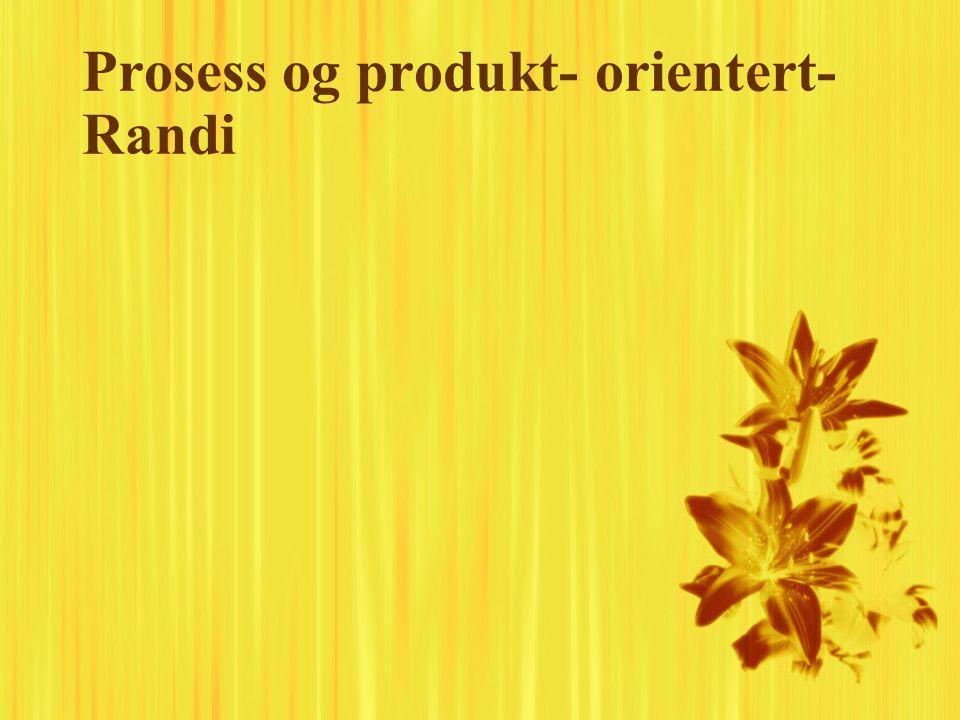 Prosess og produkt- orientert- Randi